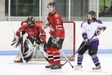 Goaltender Nick Dorken and Chris Ward defend against EMS's Chantelle Goyetche.