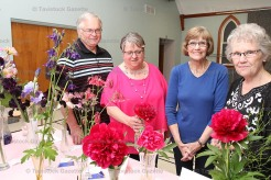 Tavistock & Area Horticultural Society members held their annual flower show at the June meeting last Tuesday evening. Prize winners were, from the left, Glen and Dianne Chambers, 3rd; Diane Kropf, 1st; and Janice McIntosh, 2nd.